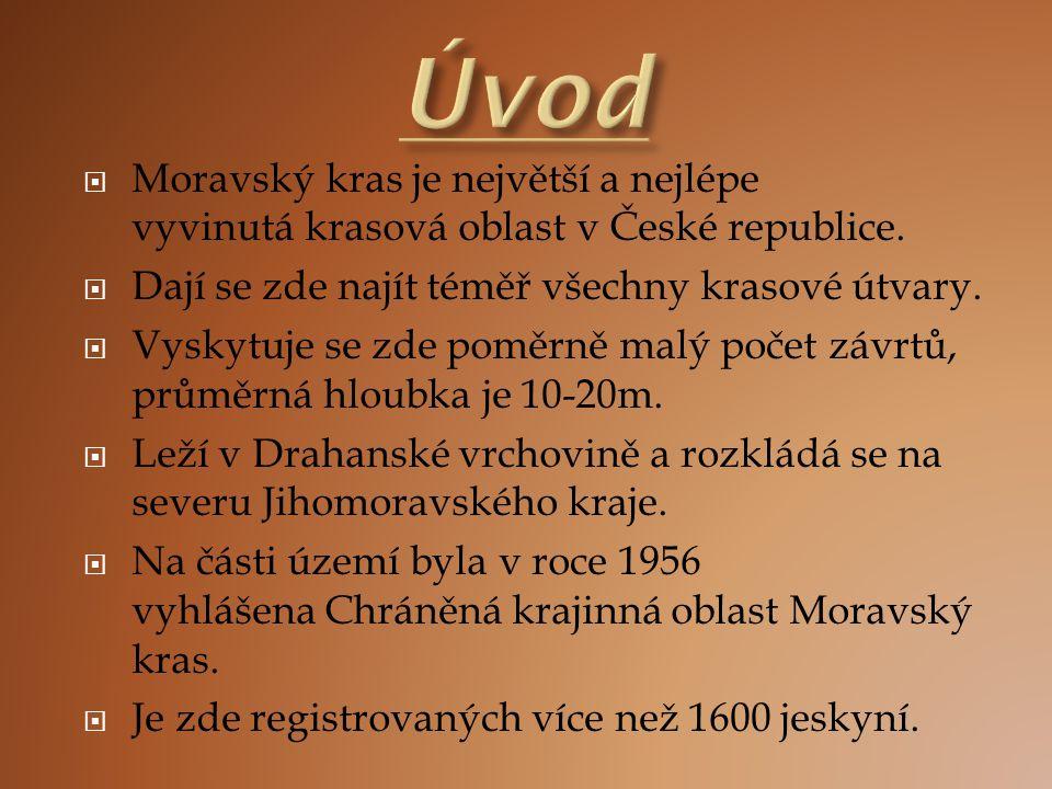 Úvod Moravský kras je největší a nejlépe vyvinutá krasová oblast v České republice. Dají se zde najít téměř všechny krasové útvary.