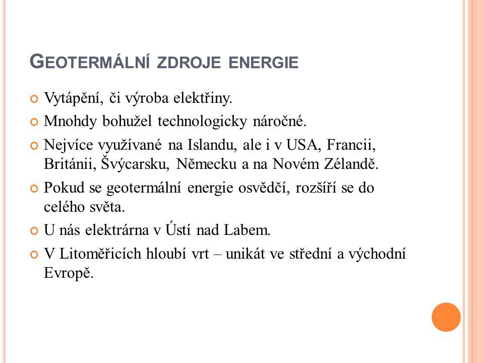 Geotermální zdroje energie