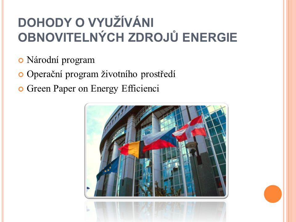 DOHODY O VYUŽÍVÁNI OBNOVITELNÝCH ZDROJŮ ENERGIE