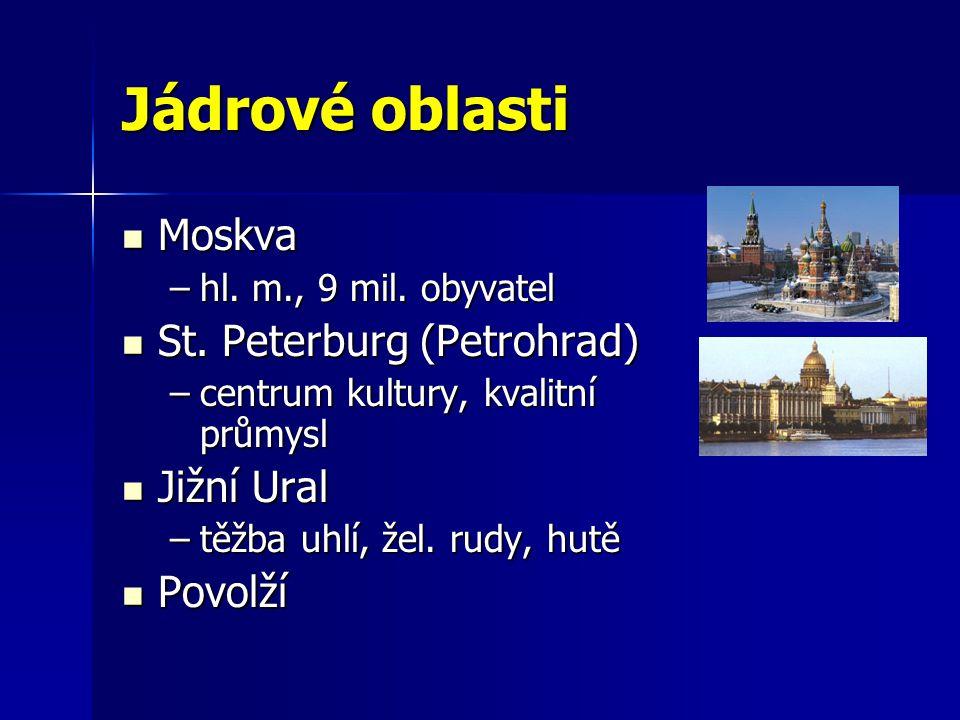 Jádrové oblasti Moskva St. Peterburg (Petrohrad) Jižní Ural Povolží