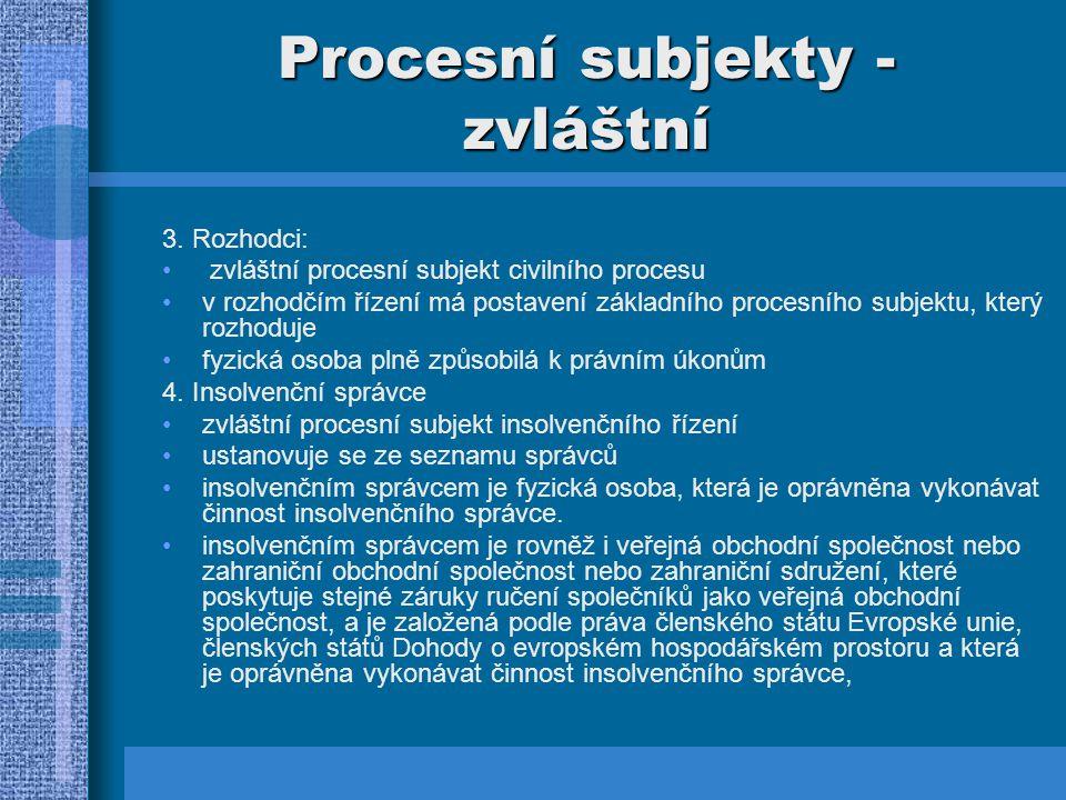 Procesní subjekty - zvláštní