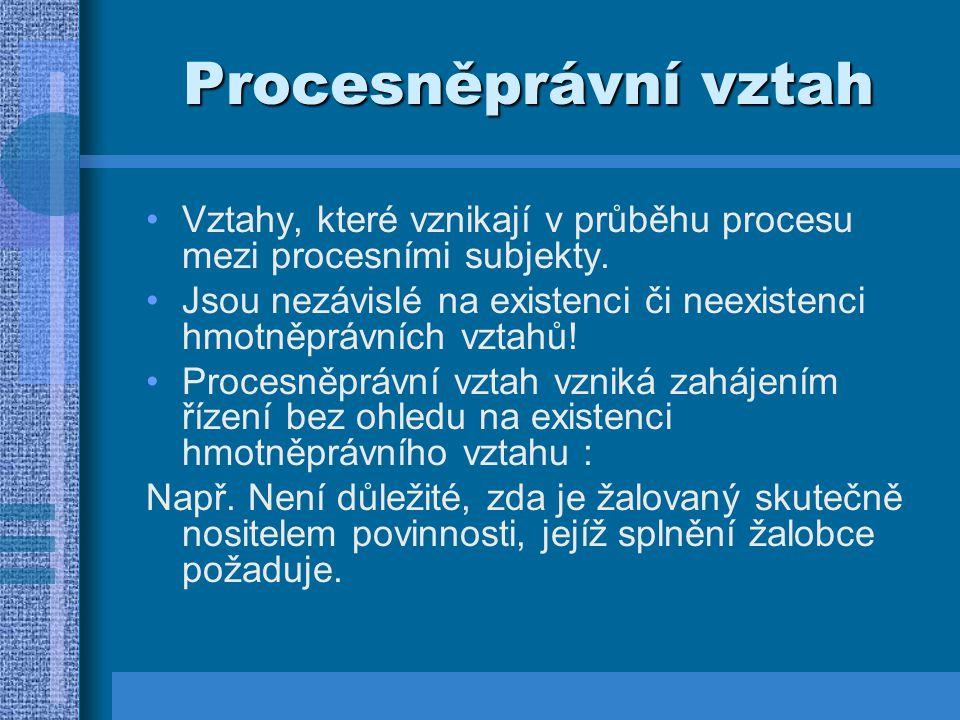 Procesněprávní vztah Vztahy, které vznikají v průběhu procesu mezi procesními subjekty.
