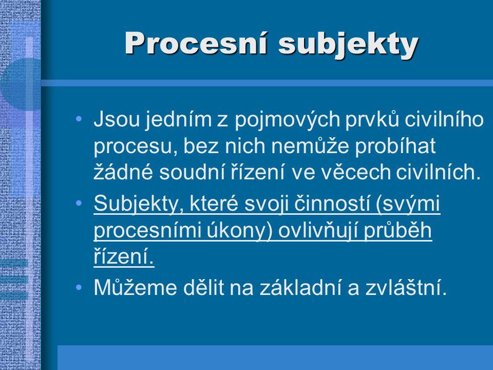 Procesní subjekty Jsou jedním z pojmových prvků civilního procesu, bez nich nemůže probíhat žádné soudní řízení ve věcech civilních.