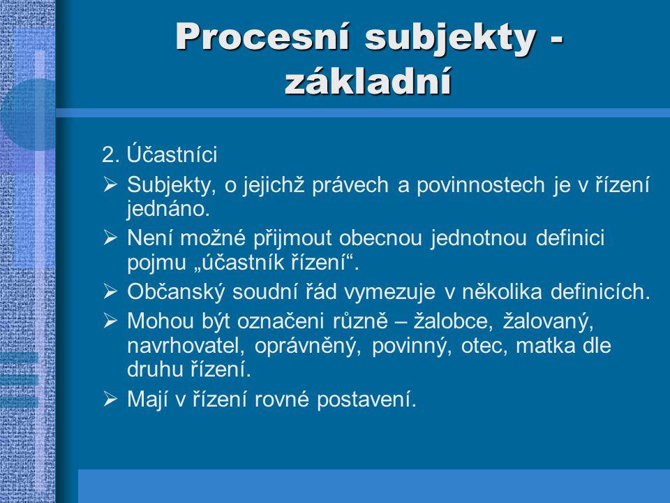 Procesní subjekty - základní