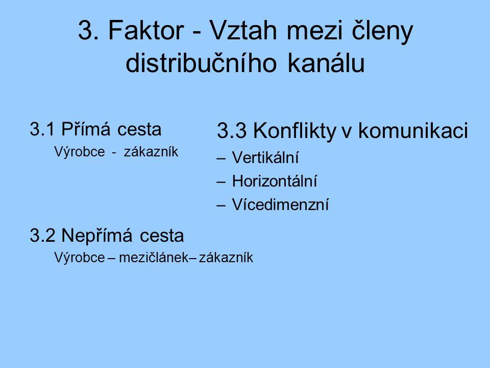 3. Faktor - Vztah mezi členy distribučního kanálu