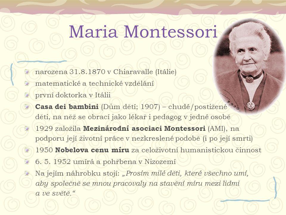 Maria Montessori narozena 31.8.1870 v Chiaravalle (Itálie)