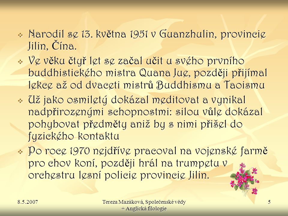 Tereza Mazáková, Společenské vědy + Anglická filologie