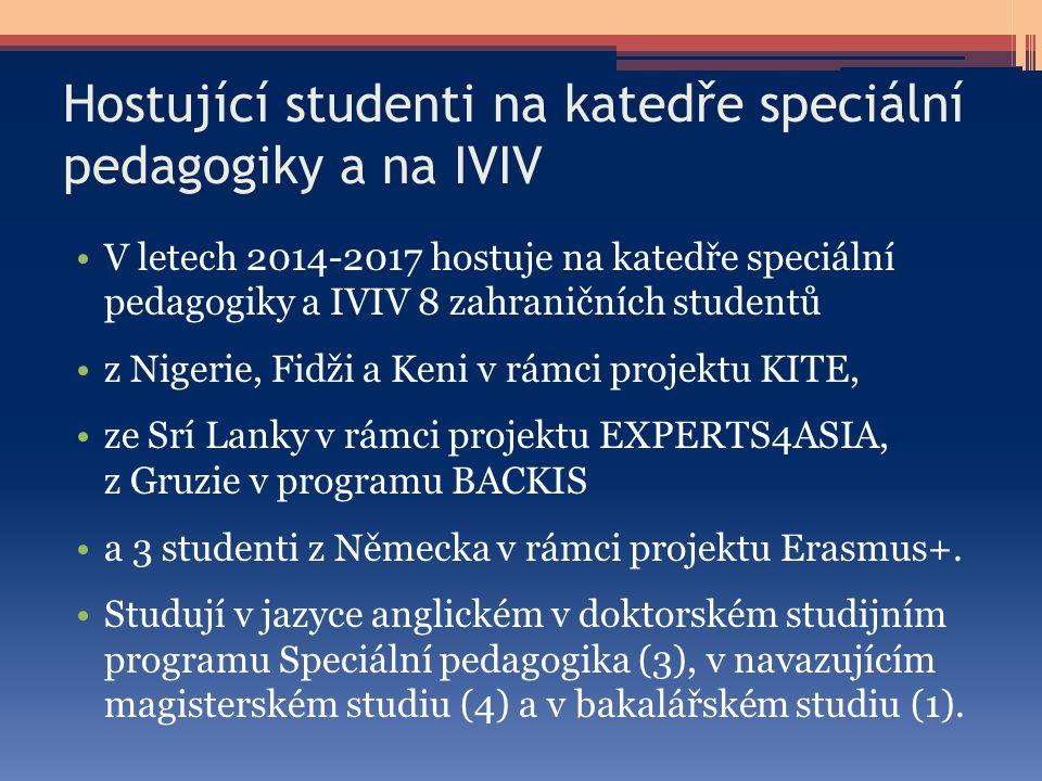 Hostující studenti na katedře speciální pedagogiky a na IVIV