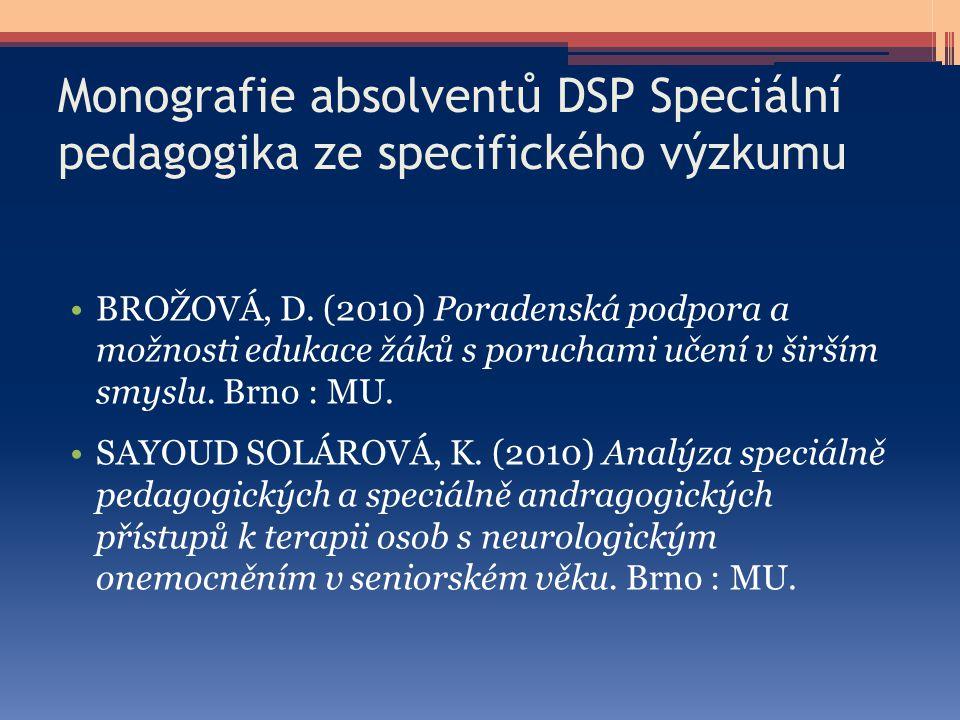 Monografie absolventů DSP Speciální pedagogika ze specifického výzkumu
