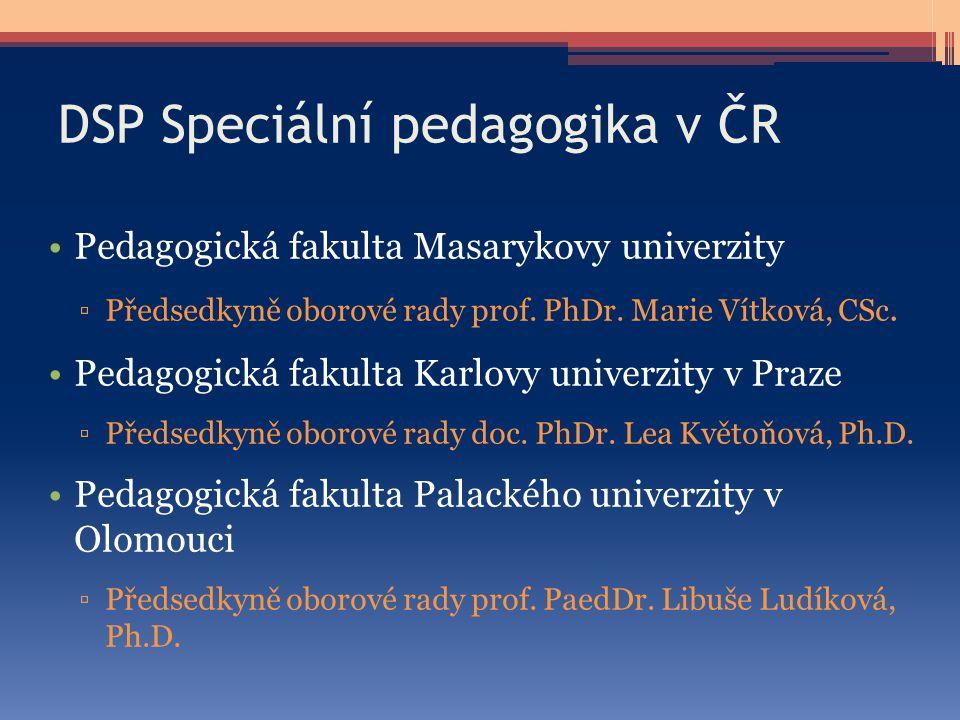 DSP Speciální pedagogika v ČR