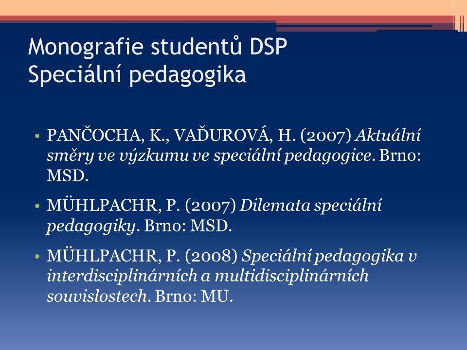 Monografie studentů DSP Speciální pedagogika