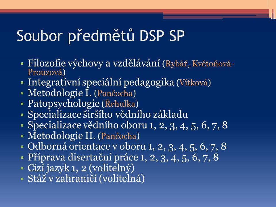 Soubor předmětů DSP SP Filozofie výchovy a vzdělávání (Rybář, Květoňová- Prouzová) Integrativní speciální pedagogika (Vítková)
