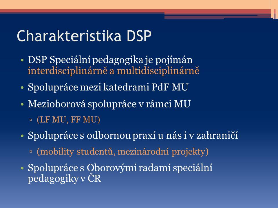 Charakteristika DSP DSP Speciální pedagogika je pojímán interdisciplinárně a multidisciplinárně. Spolupráce mezi katedrami PdF MU.