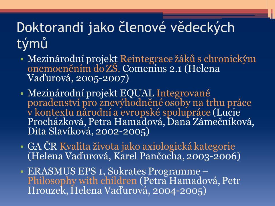 Doktorandi jako členové vědeckých týmů