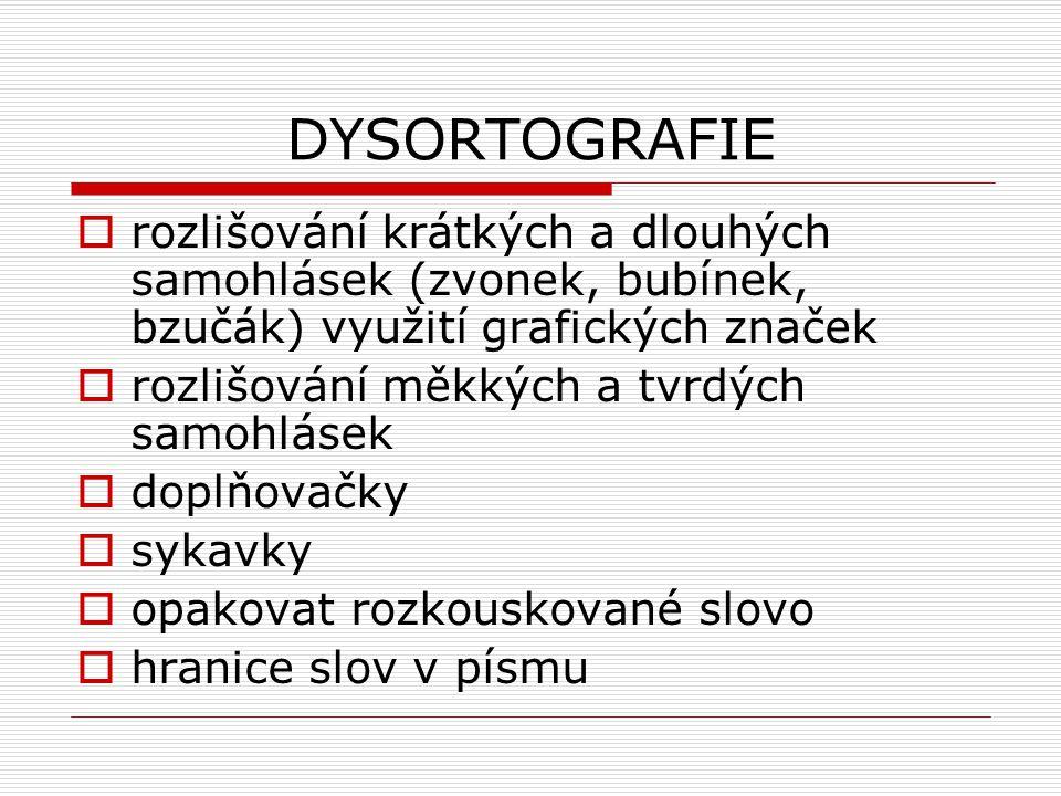 DYSORTOGRAFIE rozlišování krátkých a dlouhých samohlásek (zvonek, bubínek, bzučák) využití grafických značek.