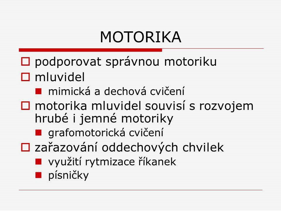 MOTORIKA podporovat správnou motoriku mluvidel