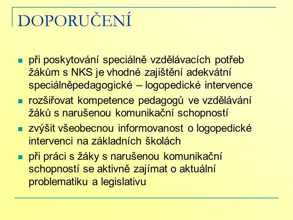DOPORUČENÍ při poskytování speciálně vzdělávacích potřeb žákům s NKS je vhodné zajištění adekvátní speciálněpedagogické – logopedické intervence.