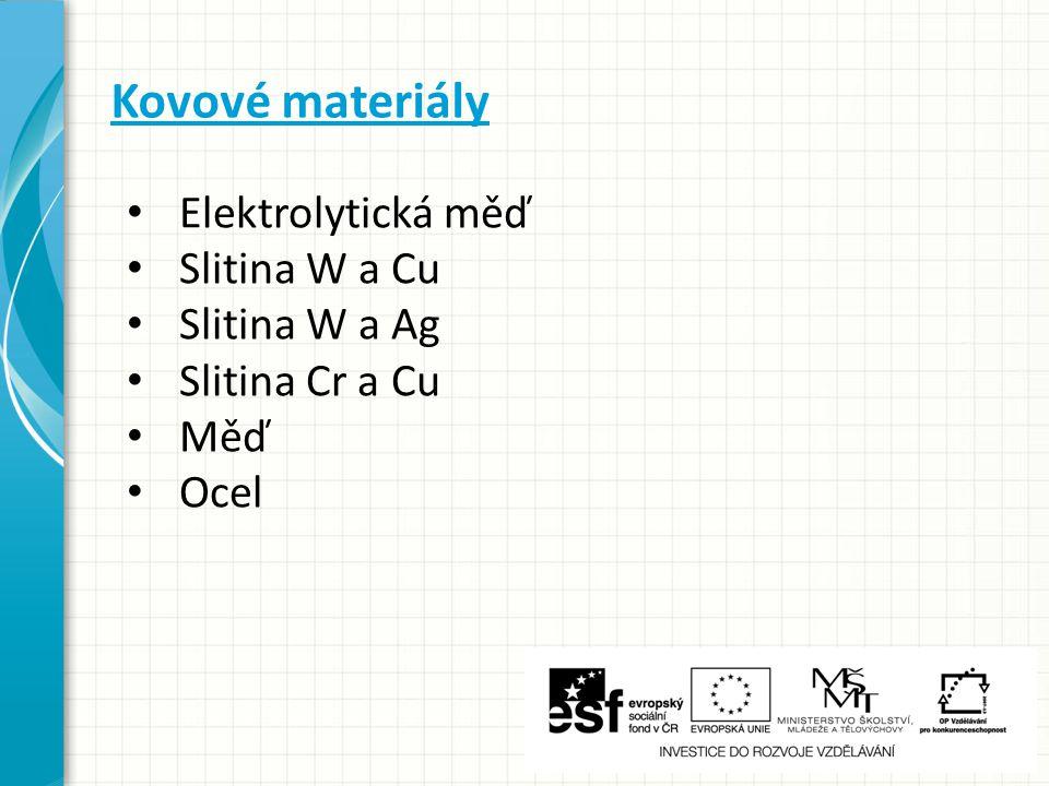 Kovové materiály Elektrolytická měď Slitina W a Cu Slitina W a Ag