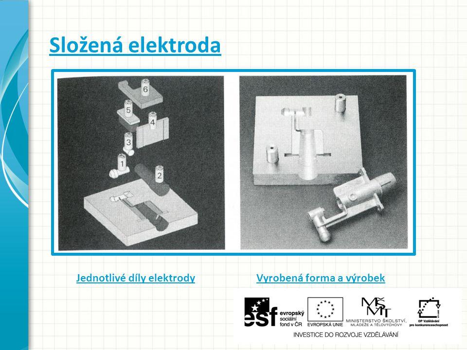 Složená elektroda Jednotlivé díly elektrody Vyrobená forma a výrobek