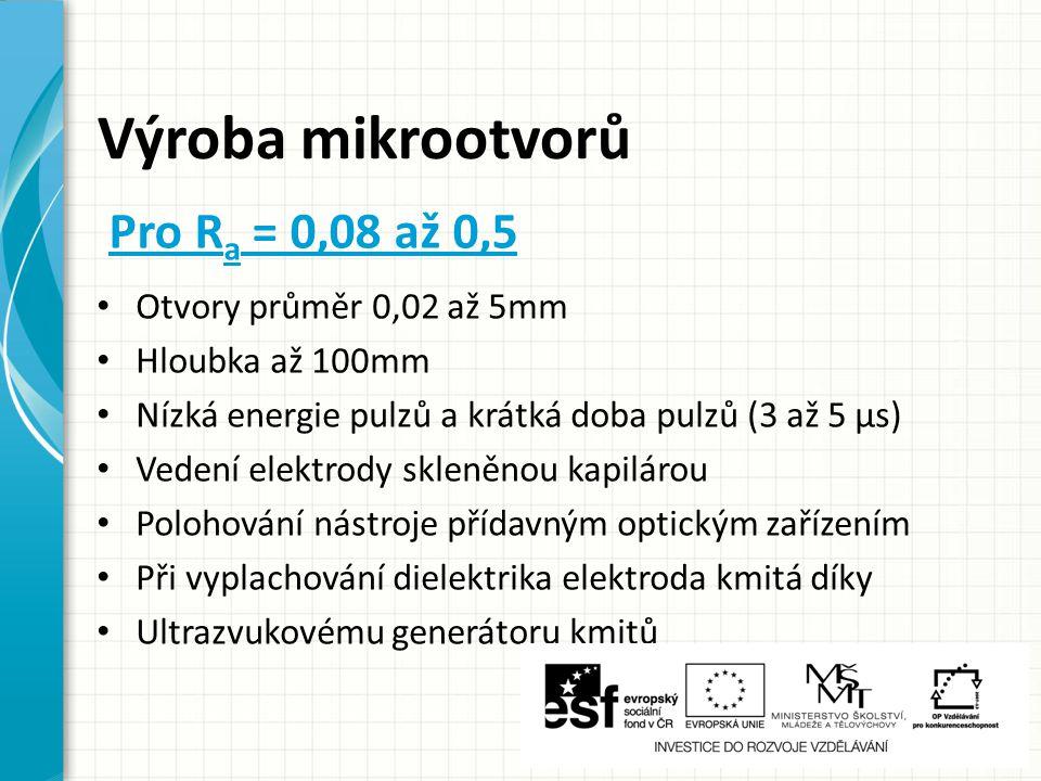Výroba mikrootvorů Pro Ra = 0,08 až 0,5 Otvory průměr 0,02 až 5mm
