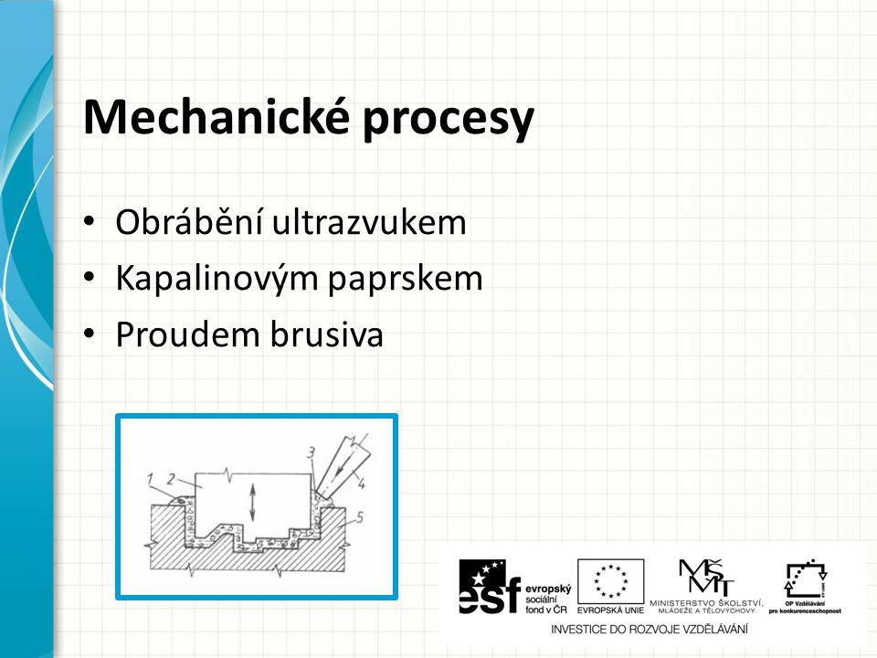 Mechanické procesy Obrábění ultrazvukem Kapalinovým paprskem
