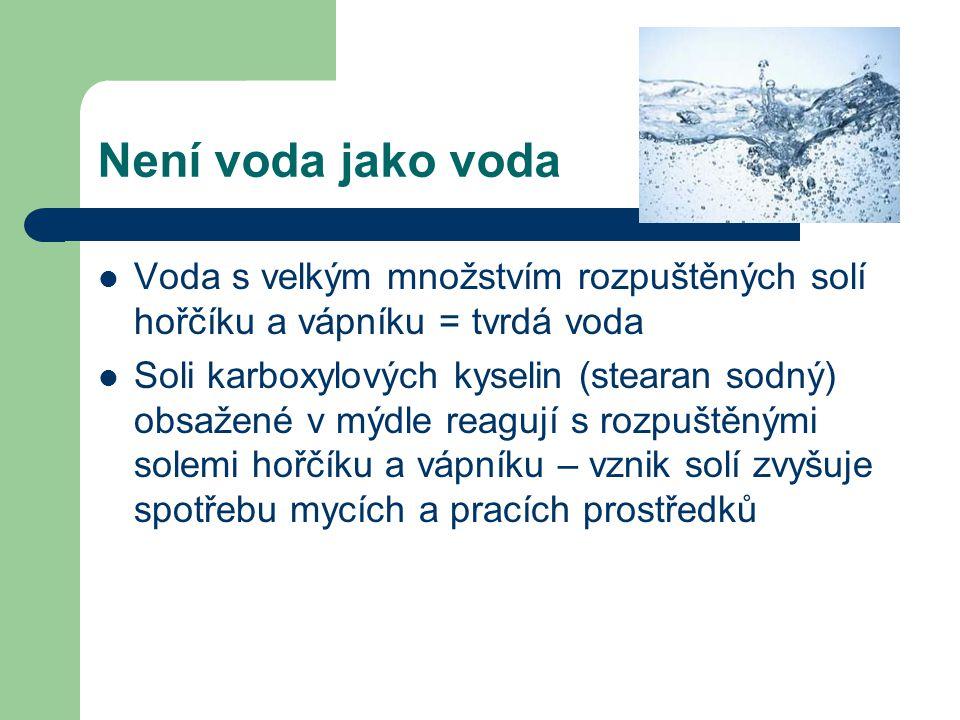 Není voda jako voda Voda s velkým množstvím rozpuštěných solí hořčíku a vápníku = tvrdá voda.