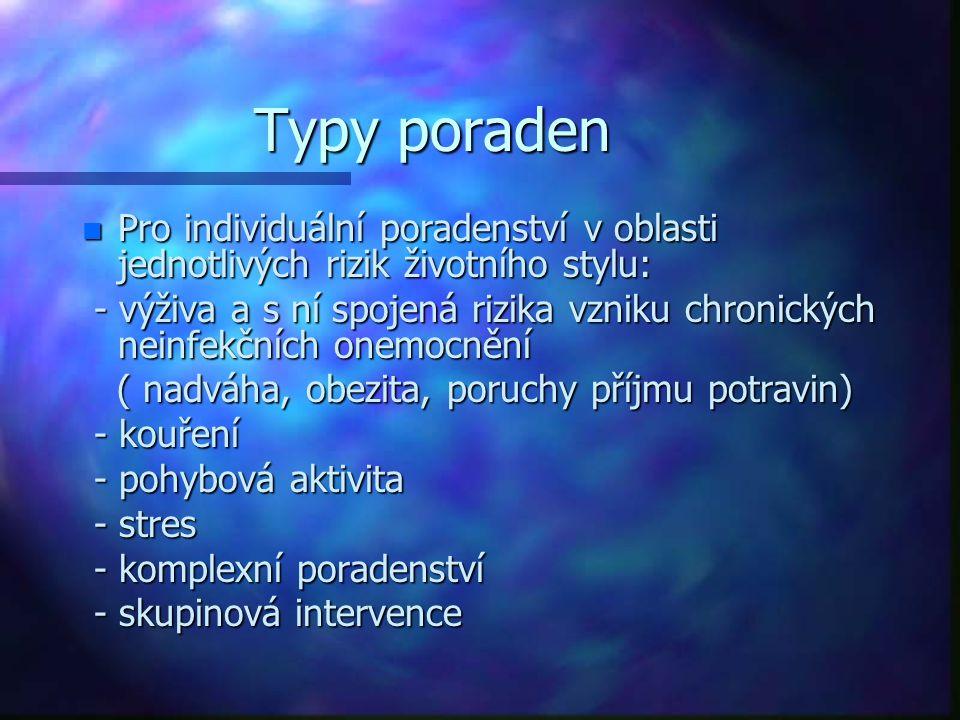 Typy poraden Pro individuální poradenství v oblasti jednotlivých rizik životního stylu: