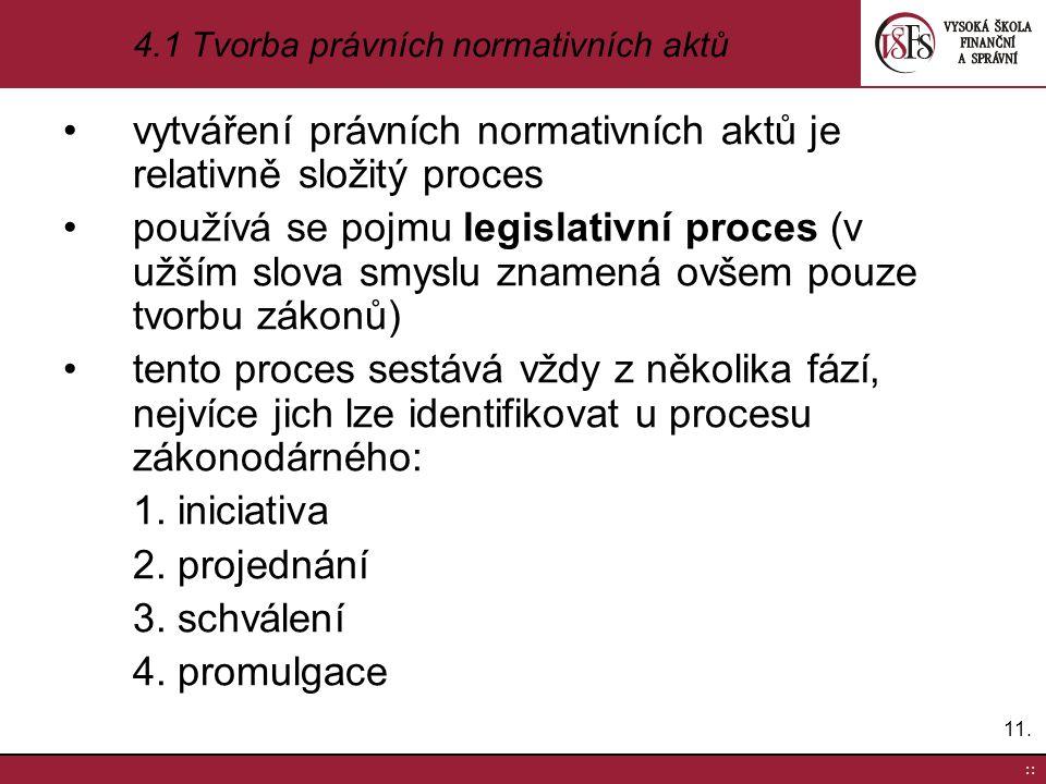 4.1 Tvorba právních normativních aktů