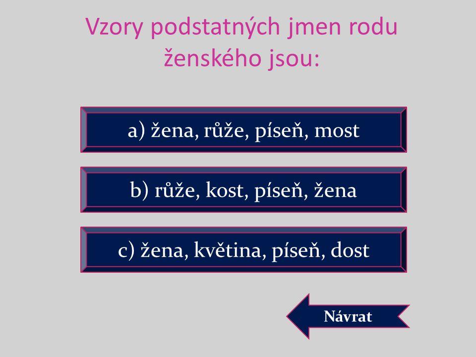 Vzory podstatných jmen rodu ženského jsou: