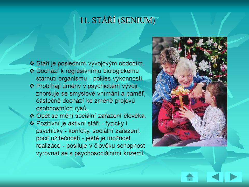11. STÁŘÍ (SENIUM) Stáří je posledním vývojovým obdobím.