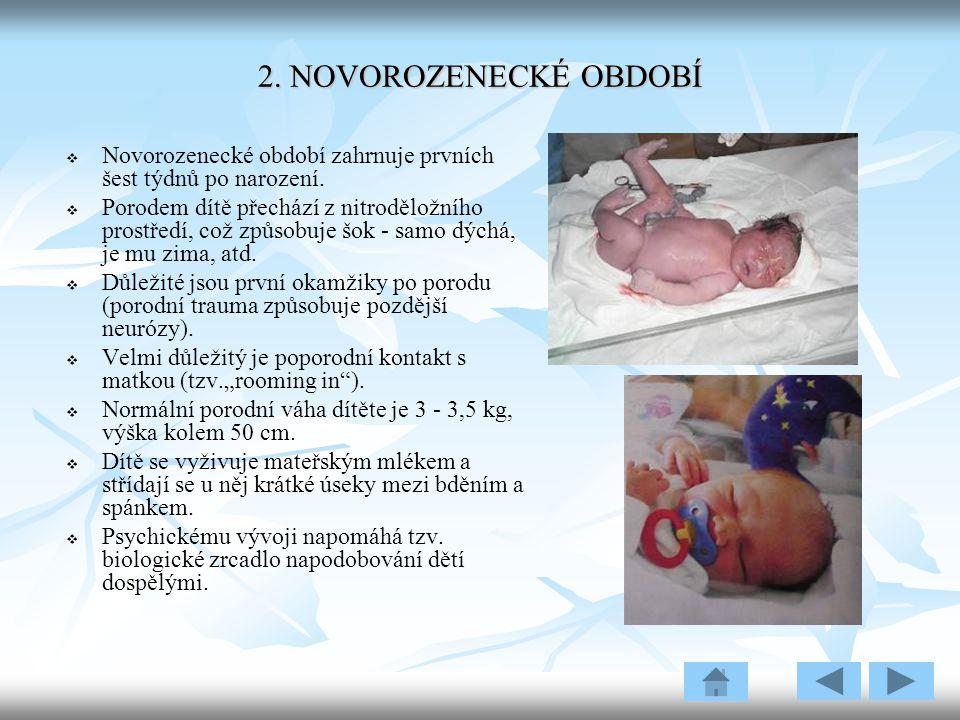 2. NOVOROZENECKÉ OBDOBÍ Novorozenecké období zahrnuje prvních šest týdnů po narození.