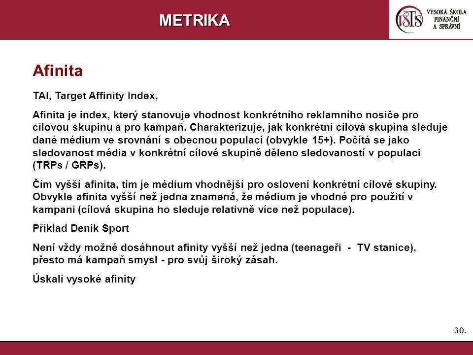 METRIKA Afinita TAI, Target Affinity Index,