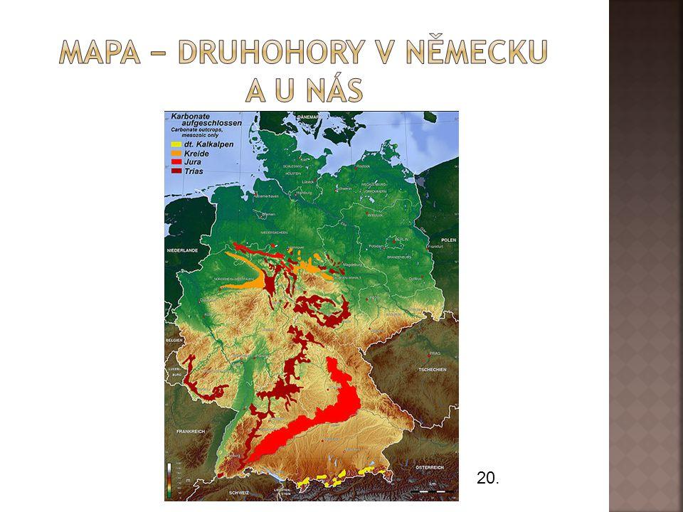 Mapa − druhohory v německu a u nás