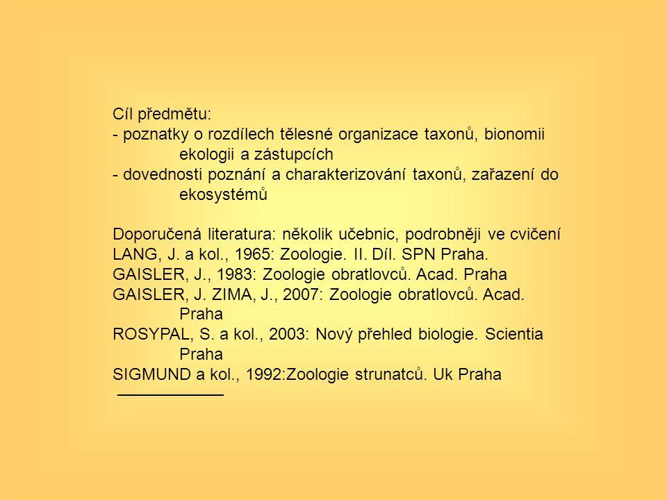 Cíl předmětu: poznatky o rozdílech tělesné organizace taxonů, bionomii ekologii a zástupcích.