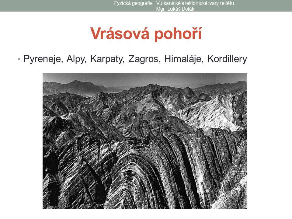 Vrásová pohoří Pyreneje, Alpy, Karpaty, Zagros, Himaláje, Kordillery
