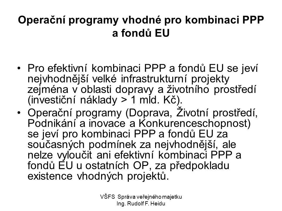 Operační programy vhodné pro kombinaci PPP a fondů EU