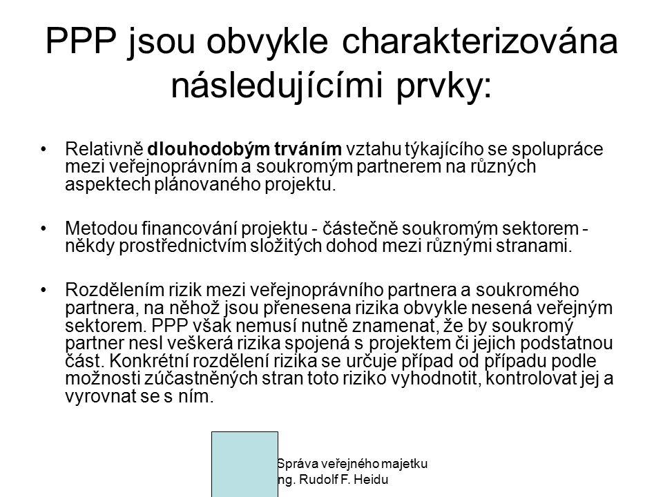 PPP jsou obvykle charakterizována následujícími prvky:
