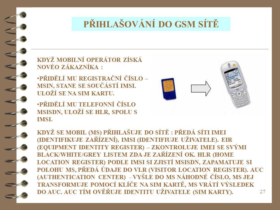 PŘIHLAŠOVÁNÍ DO GSM SÍTĚ