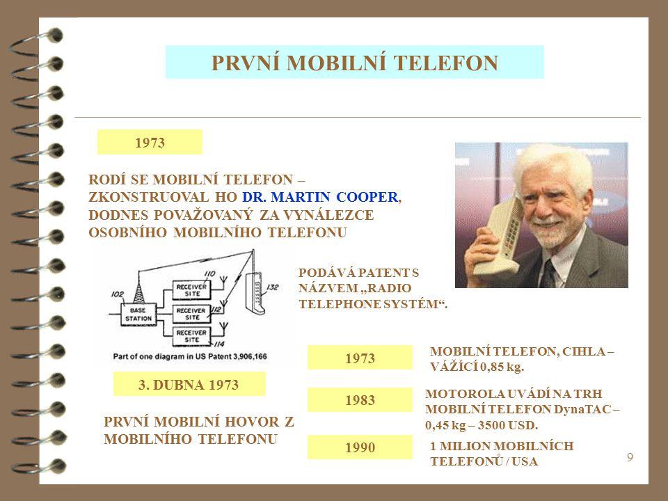 PRVNÍ MOBILNÍ TELEFON 1973. RODÍ SE MOBILNÍ TELEFON – ZKONSTRUOVAL HO DR. MARTIN COOPER, DODNES POVAŽOVANÝ ZA VYNÁLEZCE OSOBNÍHO MOBILNÍHO TELEFONU.