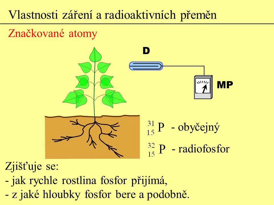 Vlastnosti záření a radioaktivních přeměn