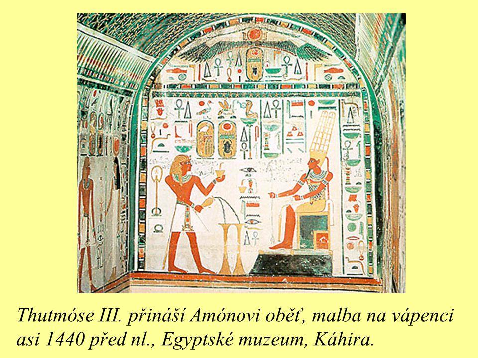 Thutmóse III. přináší Amónovi oběť, malba na vápenci