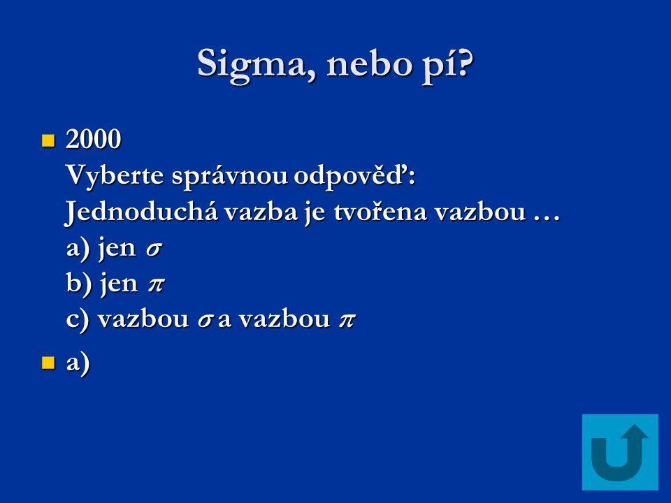 Sigma, nebo pí 2000 Vyberte správnou odpověď: Jednoduchá vazba je tvořena vazbou … a) jen σ b) jen π c) vazbou σ a vazbou π.