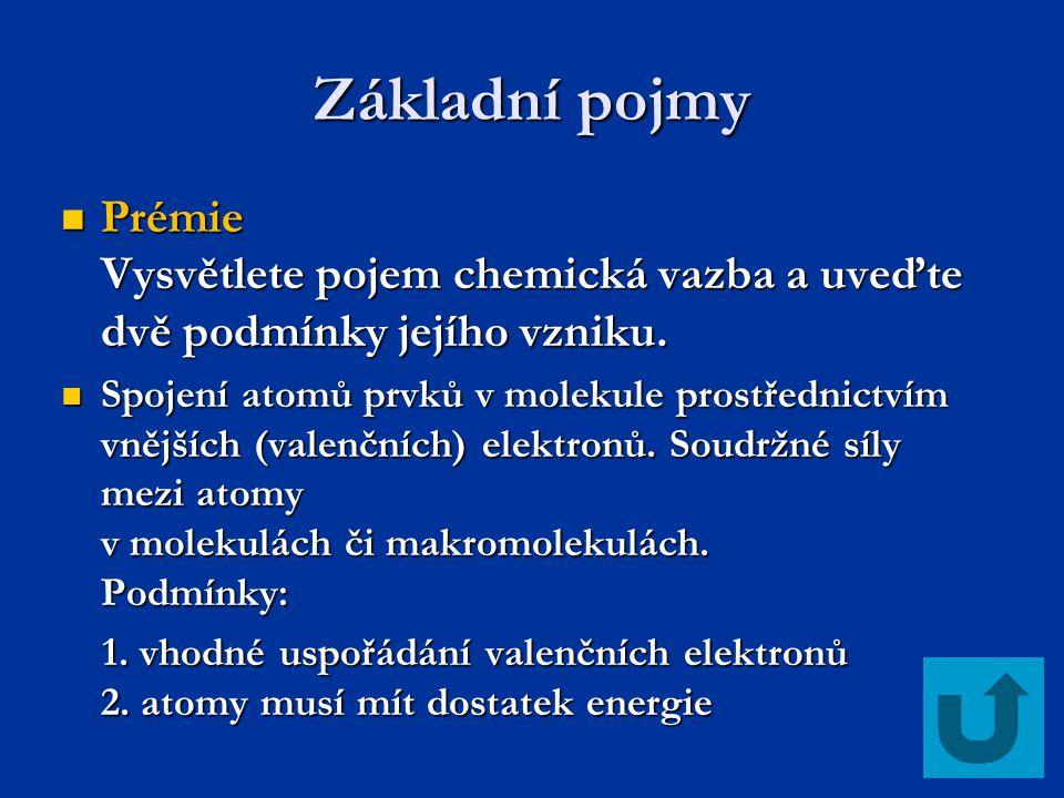 Základní pojmy Prémie Vysvětlete pojem chemická vazba a uveďte dvě podmínky jejího vzniku.