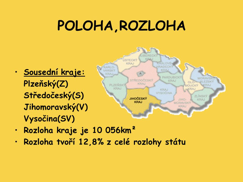 POLOHA,ROZLOHA Sousední kraje: Plzeňský(Z) Středočeský(S)