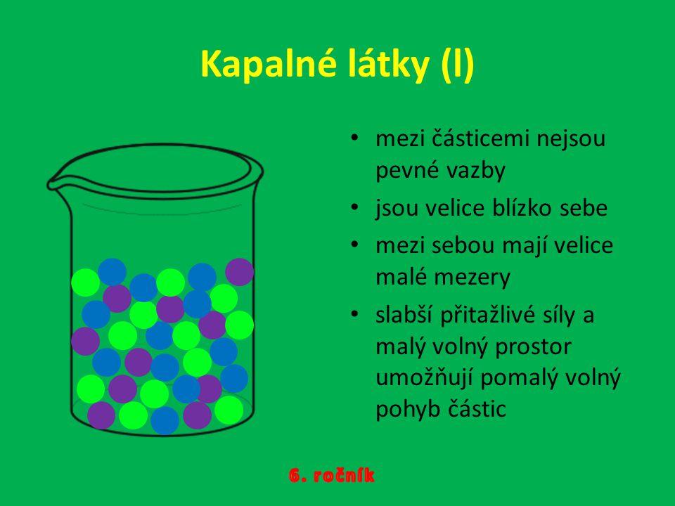 Kapalné látky (l) mezi částicemi nejsou pevné vazby