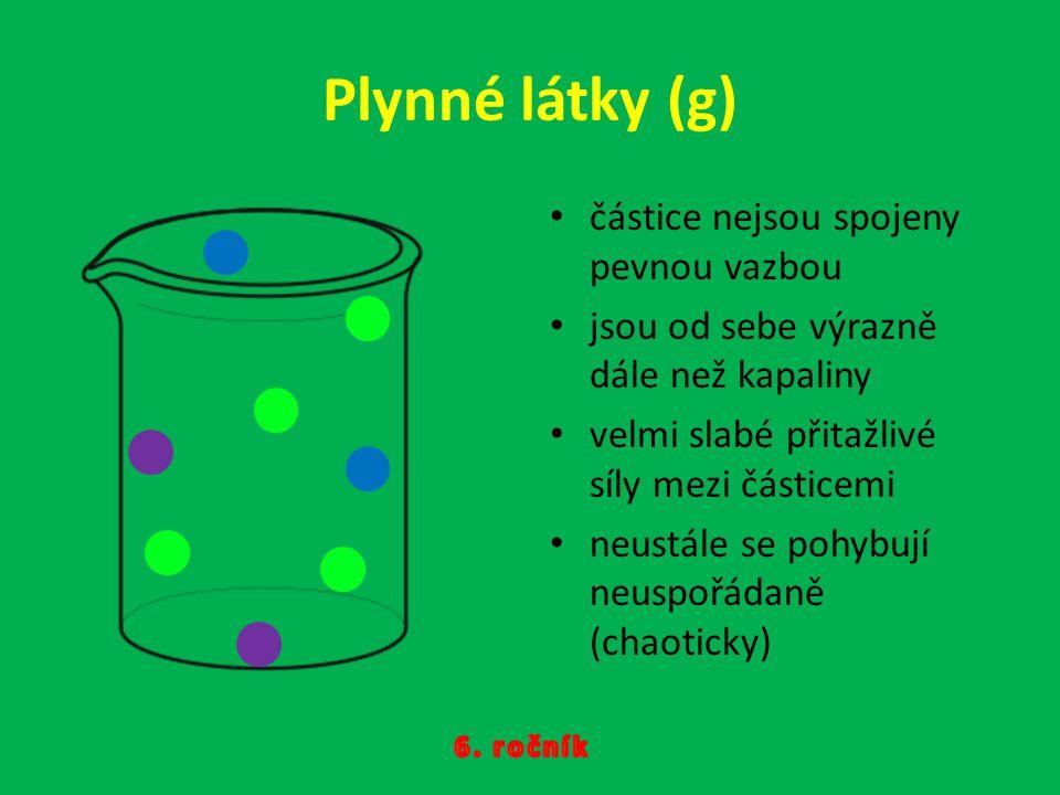 Plynné látky (g) částice nejsou spojeny pevnou vazbou