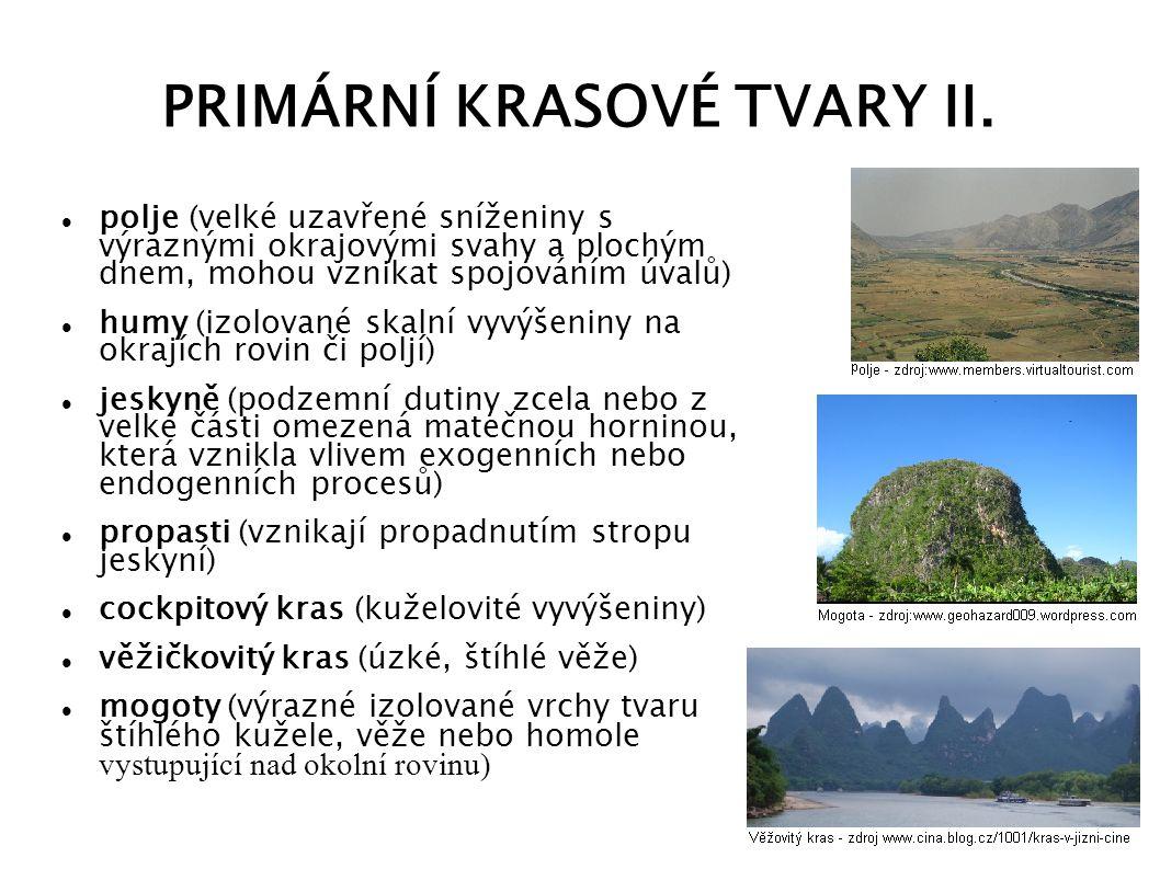 PRIMÁRNÍ KRASOVÉ TVARY II.