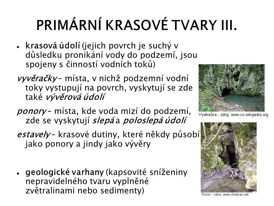 PRIMÁRNÍ KRASOVÉ TVARY III.