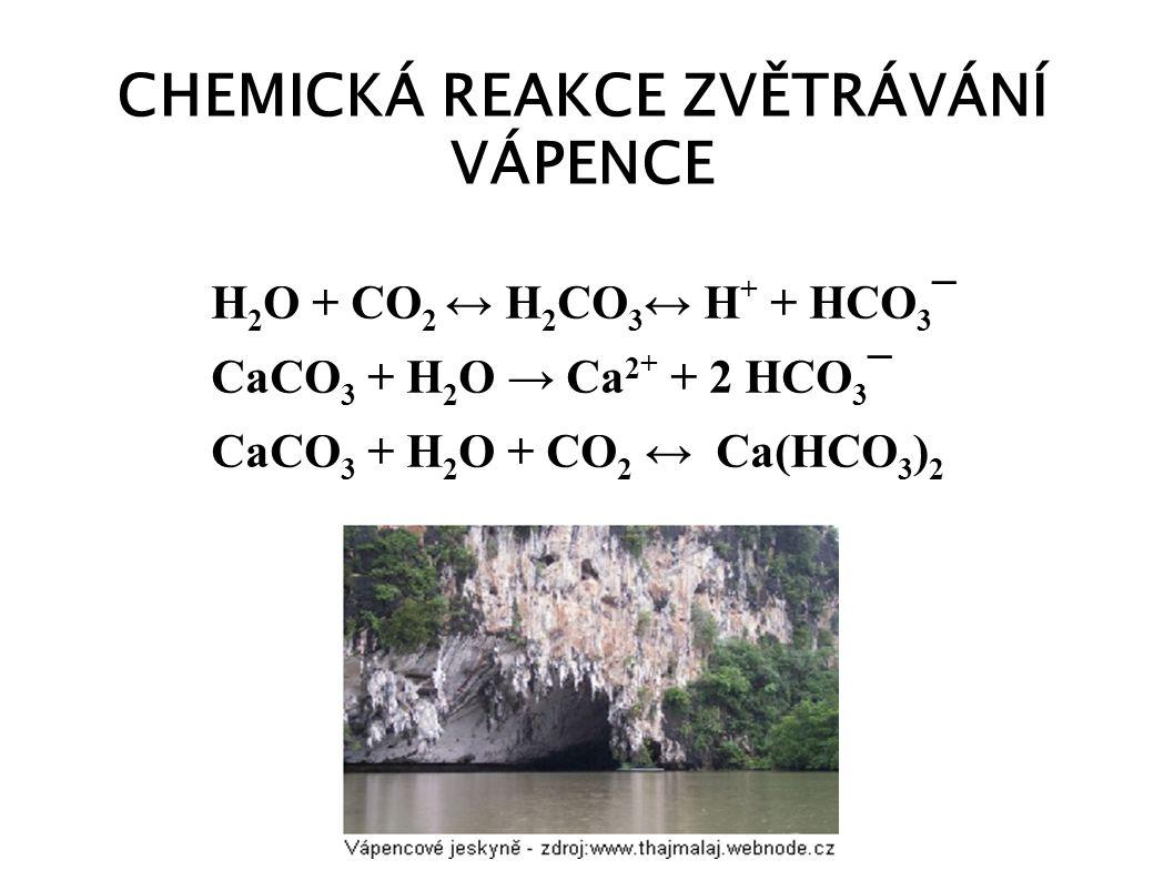 CHEMICKÁ REAKCE ZVĚTRÁVÁNÍ VÁPENCE