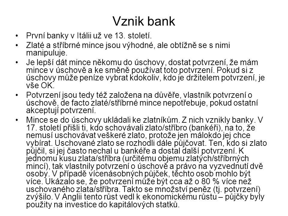 Vznik bank První banky v Itálii už ve 13. století.